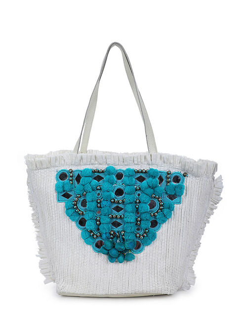White Blue Handcrafted Cotton Tote Bag