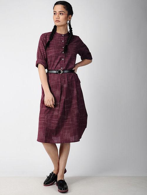 aaf273d14ba9 Buy Wine Handwoven Ikat Cotton Dress Online at Jaypore.com