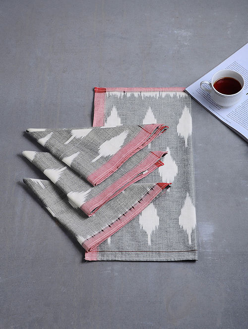 Grey-White Woven Hand Dyed Pochampally Ikat Cotton Table Napkins (Set of 4) (16.5in x 16.5in)