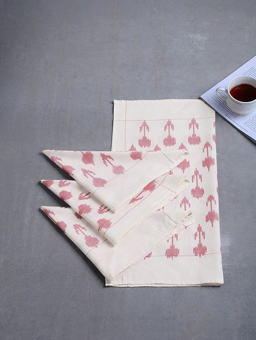 Red-White Woven Hand Dyed Pochampally Ikat Cotton Table Napkins (Set of 4) (17in x 17in)