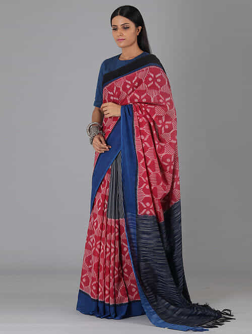 e262203af66a81 Buy Red Handwoven Ikat Cotton Saree with Blouse Fabric Online at ...
