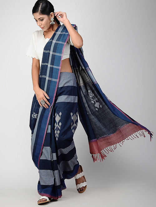 940f0761cc0 Buy Blue-Grey Pochampally Ikat Cotton Saree Online at Jaypore.com