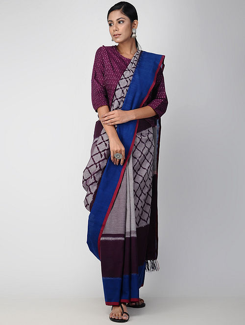 958e38c18c7 Buy Blue-Maroon Pochampally Ikat Cotton Saree Online at Jaypore.com
