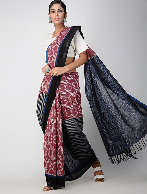 66777b3cff8 Buy Red-Blue Pochampally Ikat Cotton Saree Online at Jaypore.com
