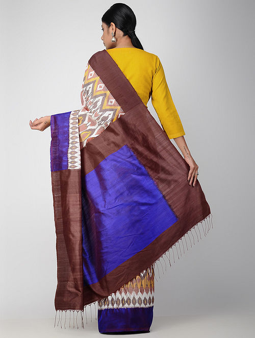 84f4b62bdbb Buy Peach-Blue Pochampally Ikat Cotton Saree Online at Jaypore.com