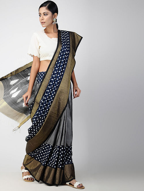 c954341e45c Buy Black-Grey Pochampally Ikat Cotton Saree Online at Jaypore.com