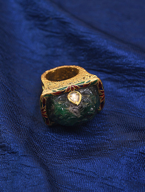 Red Green Meenakari Gold and Diamond Ring with Emerald (Ring Size 7.5)