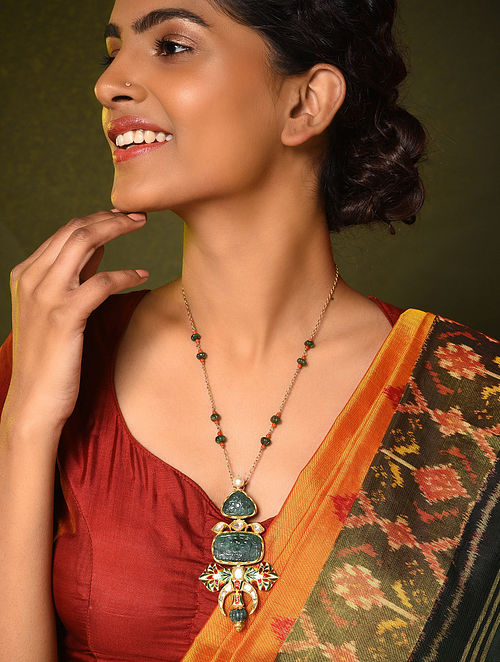 Red Green Meenakari Gold and Diamond Necklace with Emerald and Pearls