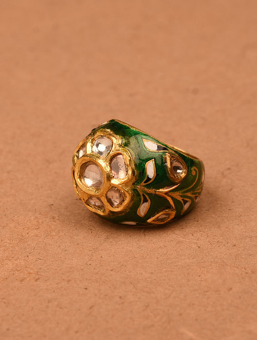 Green White Meenakari Gold and Diamond Ring (Ring Size: 6.5)