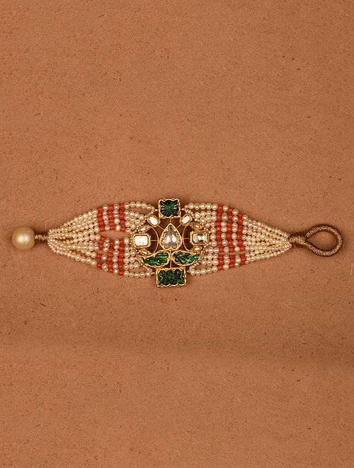Gold and Diamond Bracelet with Natural Coral, Emerald and Pearls