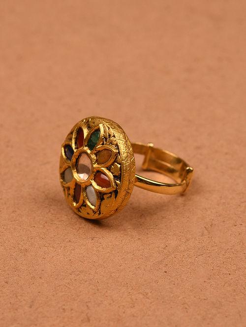 Navrattan Gold and Diamond Adjustable Ring