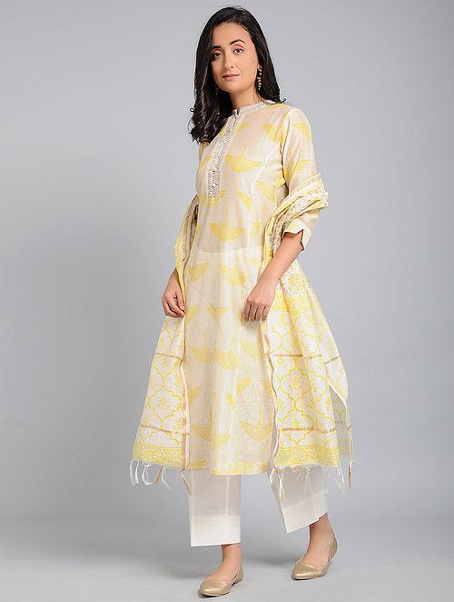 93f0f3716c51 Buy Ivory-Yellow Block-printed Chanderi Kurta with Zari Detail Online ...