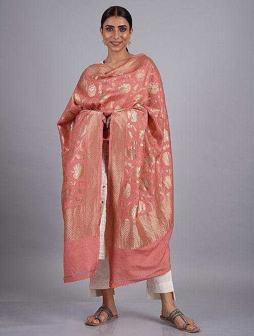 Pink Handwoven Benarasi Khaddi Muga Georgette Dupatta