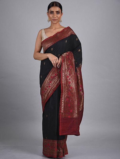 Black Handwoven Benarasi Raw Silk Saree