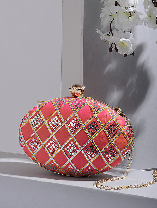 Pink Handcrafted Silk Clutch
