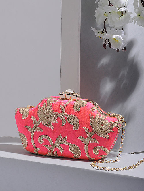 Pink-Gold Handcrafted Silk Clutch