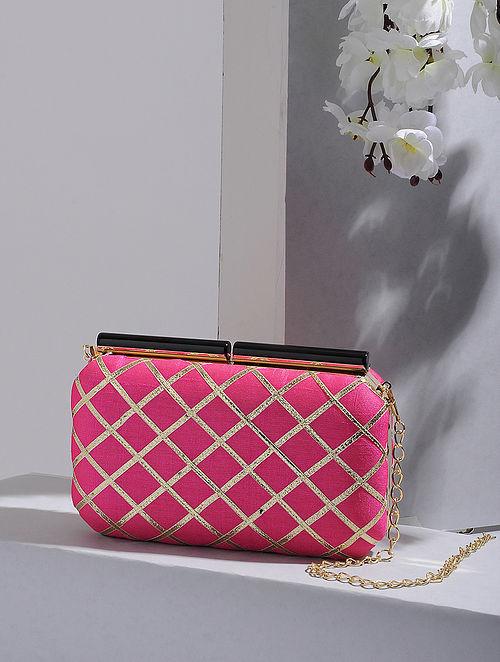 Pink-Gold Handcrafted Silk Clutch