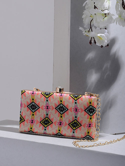 Multicolored Handcrafted Digital Print Clutch