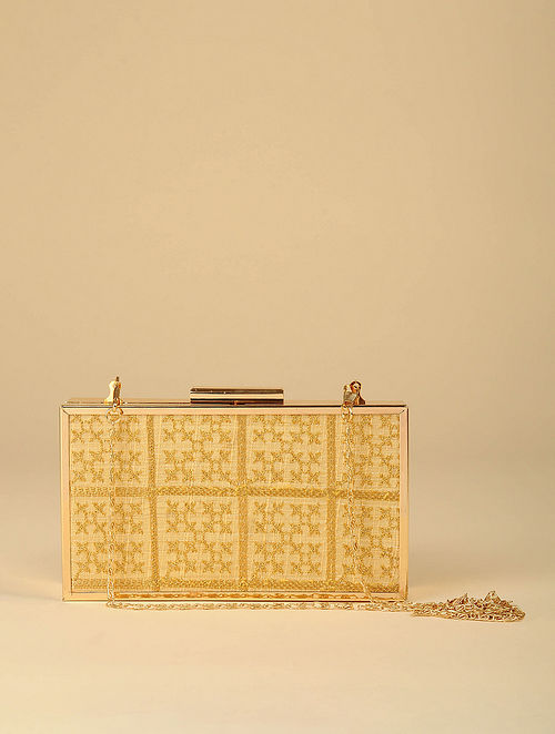 Gold Gotapatti Handcrafted Silk Clutch