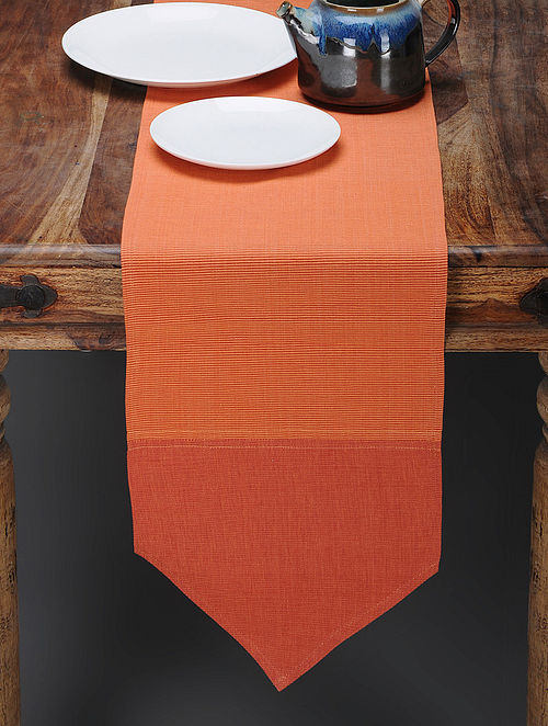 Orange-Coral Cotton Table Runner