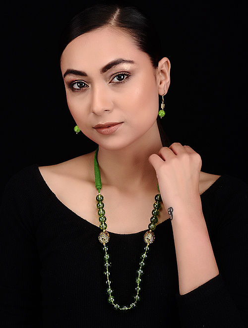 Green Quartz and Brass Beaded Necklace with Earrings (Set of 2)