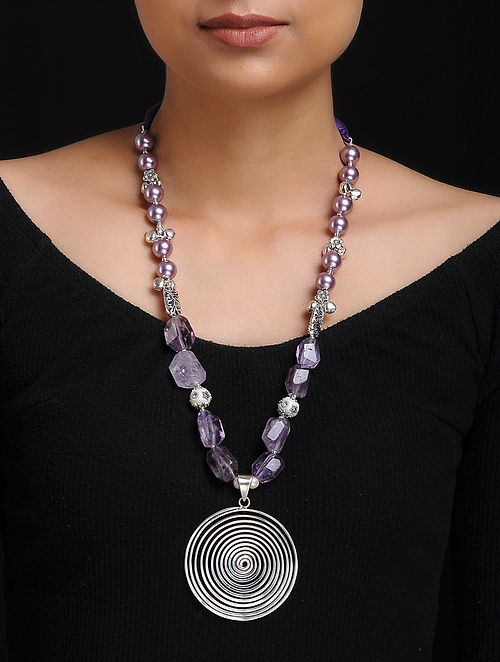 Amethyst and Shell Pearl Beaded Silver Necklace
