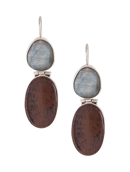 Red Jasper and Labradorite Silver Earrings
