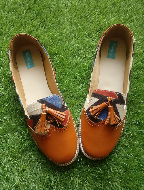 Tan-Multicolored Ajrak Printed Leather Shoes with Tassels