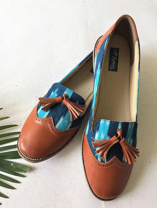 Tan-Blue Ikat Printed Leather Shoes with Tassels