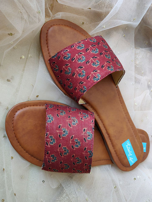 Maroon-Blue Printed Cotton and Leather Flats