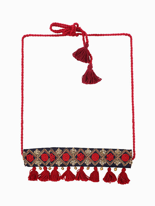 Black-Red Choker Necklace with Tassels and Ghungroo