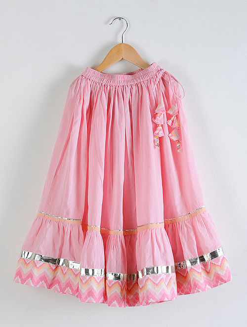 Pink Elasticated Waist Cotton Skirt