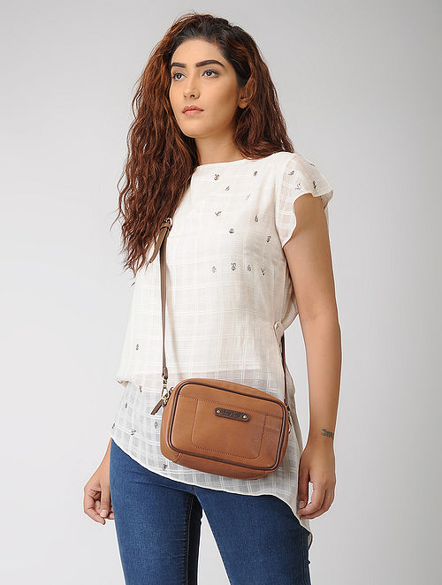 Tan Hand-Crafted Leather Box Sling Bag