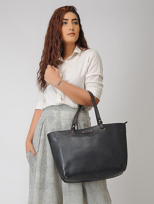 Black Hand-Crafted Leather Tote