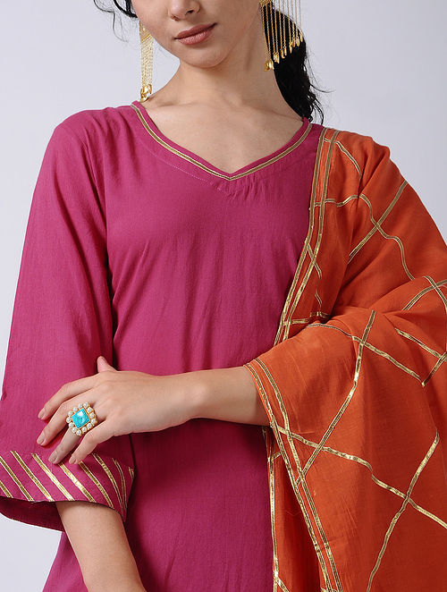 1d10156f56 Pink-Orange Block-printed Gota Cotton Kurta with Sharara and Dupatta (Set  of 3)