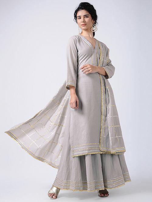 f87e4e2949 Buy Grey Gota Cotton Kurta with Sharara and Dupatta (Set of 3 ...