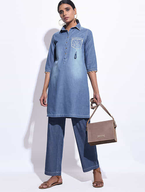 Blue Denim Hand Embroidered Tunic