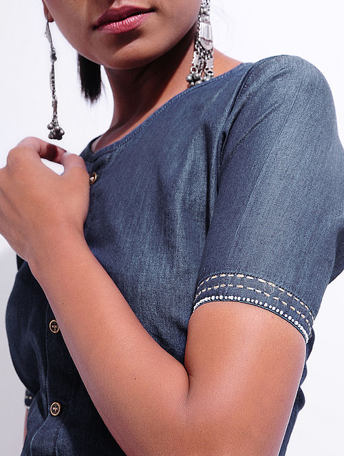 Blue Denim Blouse with Hand-embroidery