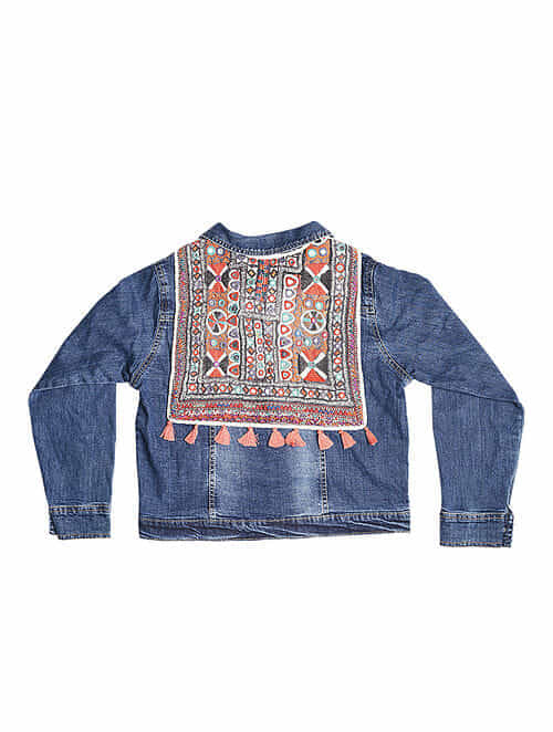 1d9ee4d4115 Buy Blue Denim Jacket with Vintage Textile Applique Online at ...