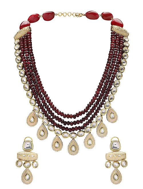 Maroon Gold Tone Kundan and Meenakari Necklace with Earrings (Set of 2)
