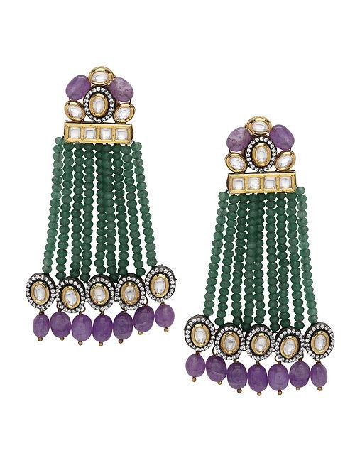 Purpe Green Gold Tone Earrings