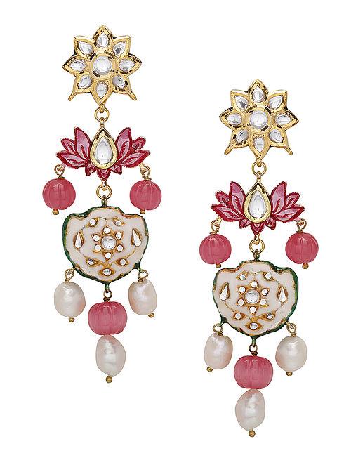 Red White Enameled Kundan Earrings with Pearls