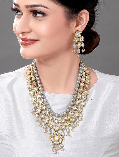 White Gold Tone Kundan Beaded Necklace with Earrings (Set of 2)