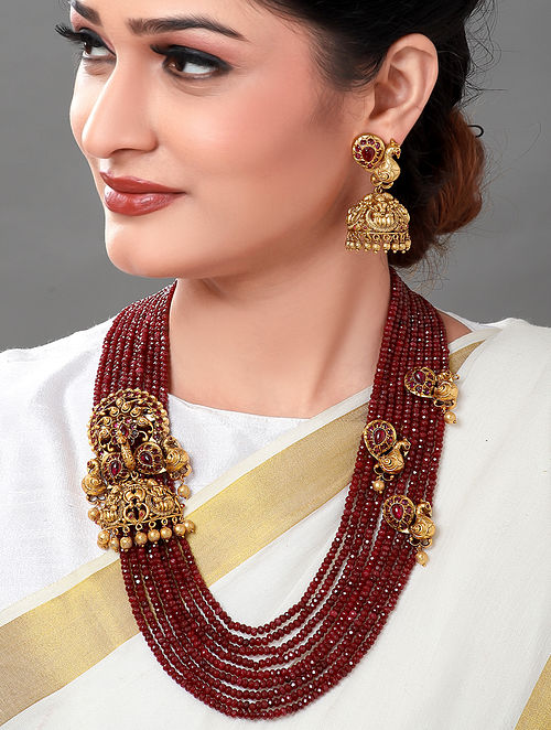 Maroon Gold Tone Necklace with Earrings (Set of 2)