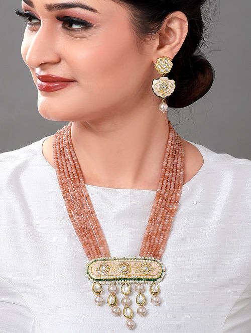 Peach Gold Tone Kundan Enameled Necklace with Earrings (Set of 2)