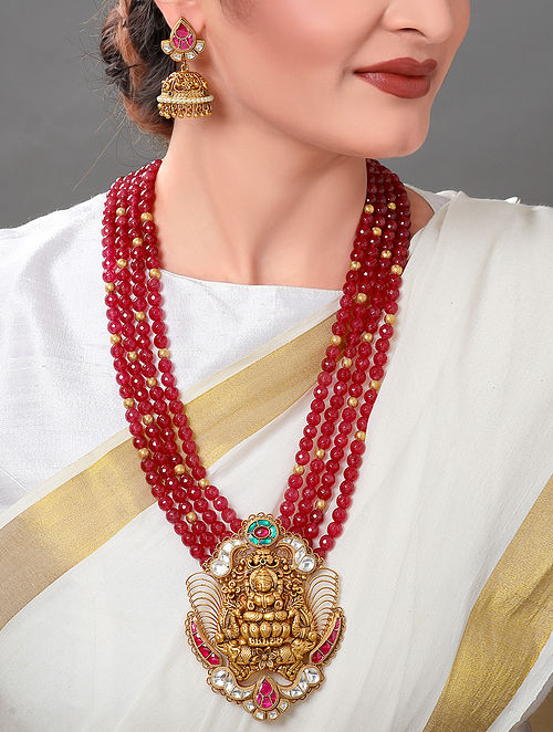 Red Gold Tone Kundan Beaded Necklace with Earrings (Set of 2)
