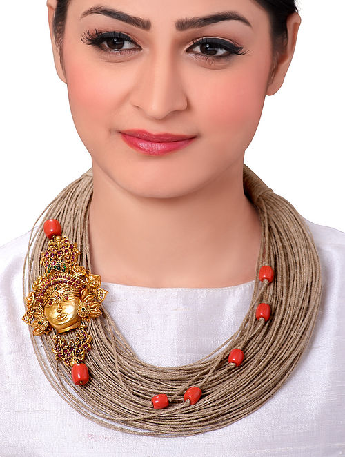 Orange Gold Tone Handcrafted Necklace