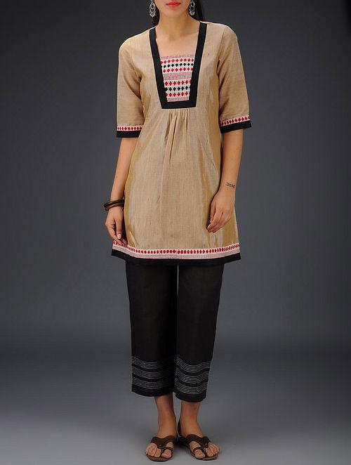 Beige-Red Tribal Hand Woven Khadi-Silk Tunic