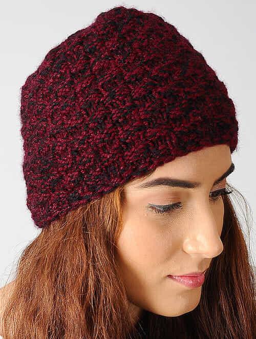 Buy Maroon-Black Hand-knitted Woolen Cap Online at Jaypore.com 92d636d9a70
