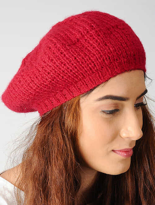 Buy Red Hand-knitted Woolen Beret Cap Online at Jaypore.com 3d70877157f